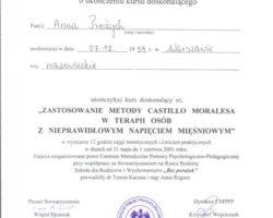 Certyfikat ukończenia szkolenia: Zastosowanie metody Castillo Moralesa w terapii osób z nieprawidłowym napięciem mięśniowym
