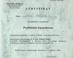 Certyfikat uczestnictwa w warsztatach: Profilaktyka logopedyczna