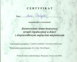 Certyfikat uczestnictwa w warsztatach: Zastosowanie ustno-twarzowej terapii regulacyjnej u dzieci z nieprawidłowym napięciem mięśniowym
