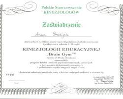Certyfikat szkolenia teoretycznego i praktycznego w zakresie I i II części Kinezjologii Edukacyjnej